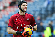 Arsenal goalkeeper Petr Cech (1) in the warm up before the Premier League match between Huddersfield Town and Arsenal at the John Smiths Stadium, Huddersfield, England on 9 February 2019.