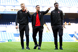 Zak Vyner of Rotherham United checks out the Goodison Park Pitch with Semi Ajayi and Sean Raggett ahead of their sides Carabao Cup match against Everton - Mandatory by-line: Robbie Stephenson/JMP - 29/08/2018 - FOOTBALL - Goodison Park - Liverpool, England - Everton v Rotherham United - Carabao Cup