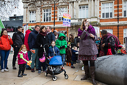London, UK. 26th January, 2019. Local campaigners protest in Brixton against plans by Lambeth Council to close five children's centres and to reduce by half funding for seven others.