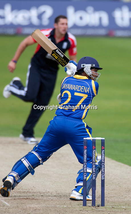 Mahela Jayawardene bats during his 144 in the second one day international between England and Sri Lanka at Headingley, Leeds. Photo: Graham Morris (Tel: +44(0)20 8969 4192 Email: sales@cricketpix.com) 01/07/11