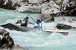 Luka Zganjar and Peter Znidarsic of Slovenia competed in C2 men at final sprint race of European wildwater Canoeing Championships Soca 2013 on May 12, 2013 in Trnovo ob Soci, Soca river, Slovenia. (Photo By Vid Ponikvar / Sportida)