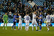 Players shake hands at full time during the EFL Sky Bet Championship match between Sheffield Wednesday and Leeds United at Hillsborough, Sheffield, England on 28 September 2018.