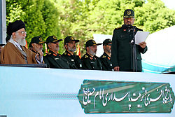 Iran's supreme leader, Ayatollah Ali Khamenei (L)attends a ceremony at the Emam Hossein university, in Tehran, Iran on May 10, 2017. Photo by ParsPix/ABACAPRESS.COM