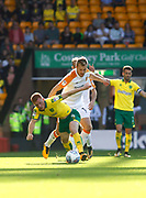 Norwich City's Harrison Reed and Hull City's Sebastian Larsson during the EFL Sky Bet Championship match between Norwich City and Hull City at Carrow Road, Norwich, England on 14 October 2017. Photo by John Marsh.