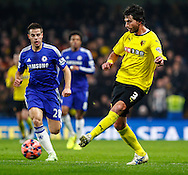 Cesar Azpilicueta of Chelsea chases down Gianni Munari of Watford during the FA Cup match at Stamford Bridge, London<br /> Picture by David Horn/Focus Images Ltd +44 7545 970036<br /> 04/01/2015