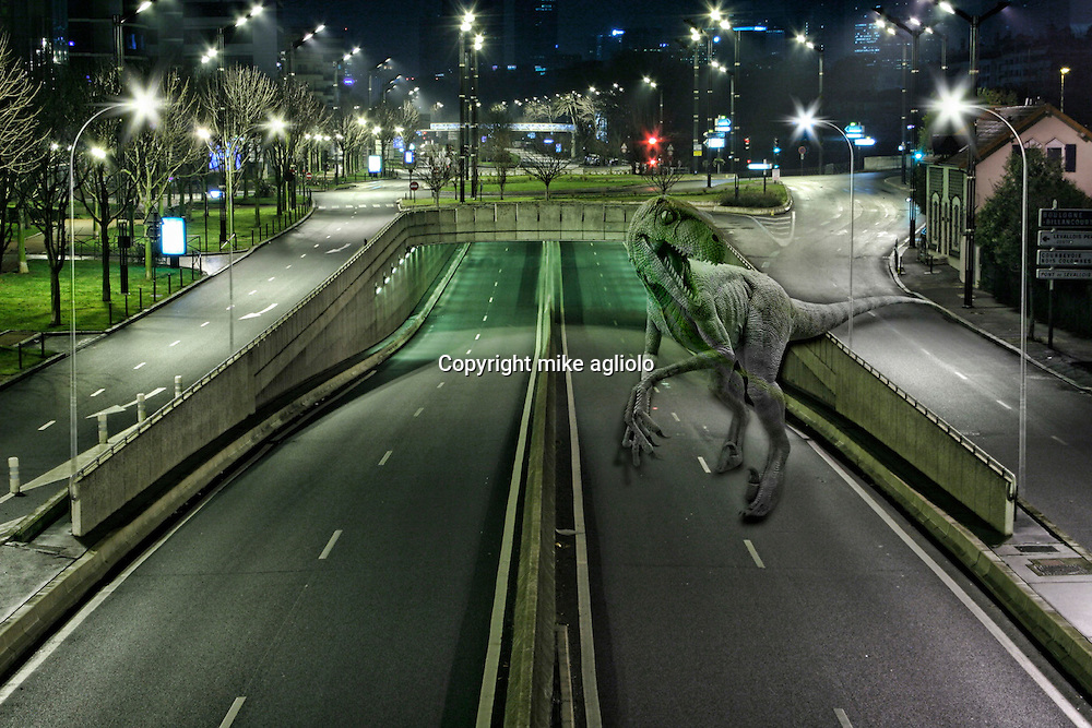 dinosaur  on freeway
