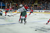 KELOWNA, BC - SEPTEMBER 28:  Aidan Sutter #44 of the Everett Silvertips checks Jake Poole #23 of the Kelowna Rockets at the blue line during second period at Prospera Place on September 28, 2019 in Kelowna, Canada. (Photo by Marissa Baecker/Shoot the Breeze)