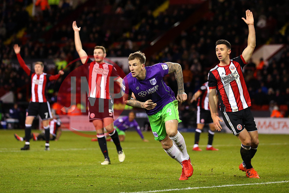 Aden Flint of Bristol City celebrates scoring a goal to make it 2-1 - Mandatory by-line: Robbie Stephenson/JMP - 08/12/2017 - FOOTBALL - Bramall Lane - Sheffield, England - Sheffield United v Bristol City - Sky Bet Championship