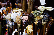 Walking canes with ornate handles, Windsor, Berkshire, United Kingdom