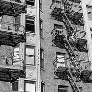 Detail of emergency stairs in building. San Francisco, CA.