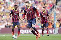 FC Barcelona's Alex Song (l), Gerard Pique (c) and Adriano Correia during La Liga match.May 17,2014. (ALTERPHOTOS/Acero)