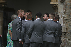 England all-rounder Ben Stokes (left) arrives for his marriage to fiancee Clare Ratcliffe, at St Mary the Virgin, East Brent, Somerset.