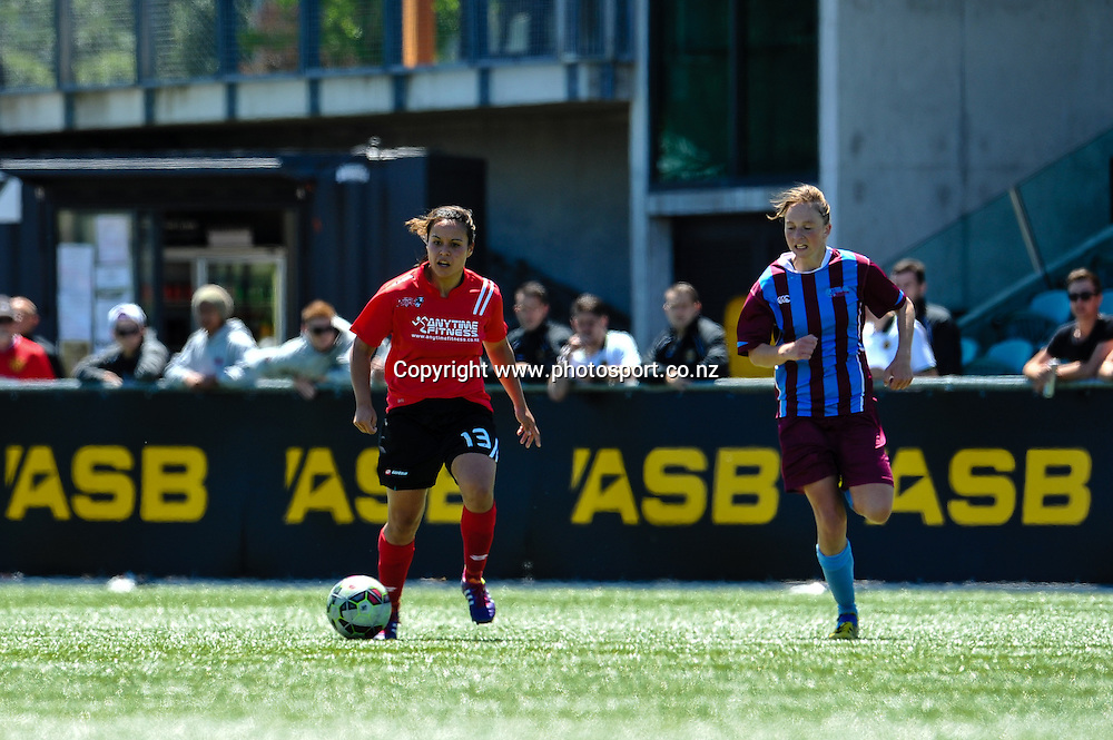 Aimee Phillips of the Mainland Pride on the burst in the ASB Womens League match, Mainland Pride v Football South, 23 November 2014. Photo:John Davidson/www.photosport.co.nz