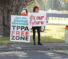 Christchurch-TPPA protest out side Rydges Hotel
