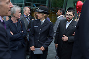 Two days after the London Bridge and Borough Market terrorist attack, Londoners from all faiths and religions attended a vigil outside City Hall, on Monday 5th June 2017, in the south London borough of Southwark, England. Metropolitan Police Superindent Elizabeth (Liz) Hughes met inter-faith community leaders while a prominent armed police presence guarded dignitaries and the public who came to the Southbank to remember the seven killed and many others left with life-changing injuries. The British spirit of defiance and to carry on with every day life, endures.