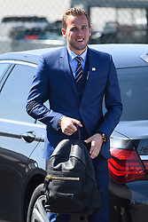 © Licensed to London News Pictures. 06/06/2016. Luton, UK. England striker HARRY KANE holding his bags as he arrives at the airport, before Members of England national football squad board a plane at Luton airport in Bedfordshire, England, to head for their training camp in France, ahead of the start of the UEFA Euro 2016 championships.  Photo credit: Ben Cawthra/LNP