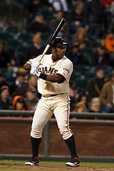 May 24, 2011; San Francisco, CA, USA;  San Francisco Giants shortstop Miguel Tejada (10) at bat against the Florida Marlins during the ninth inning at AT&T Park. Florida defeated San Francisco 5-1.