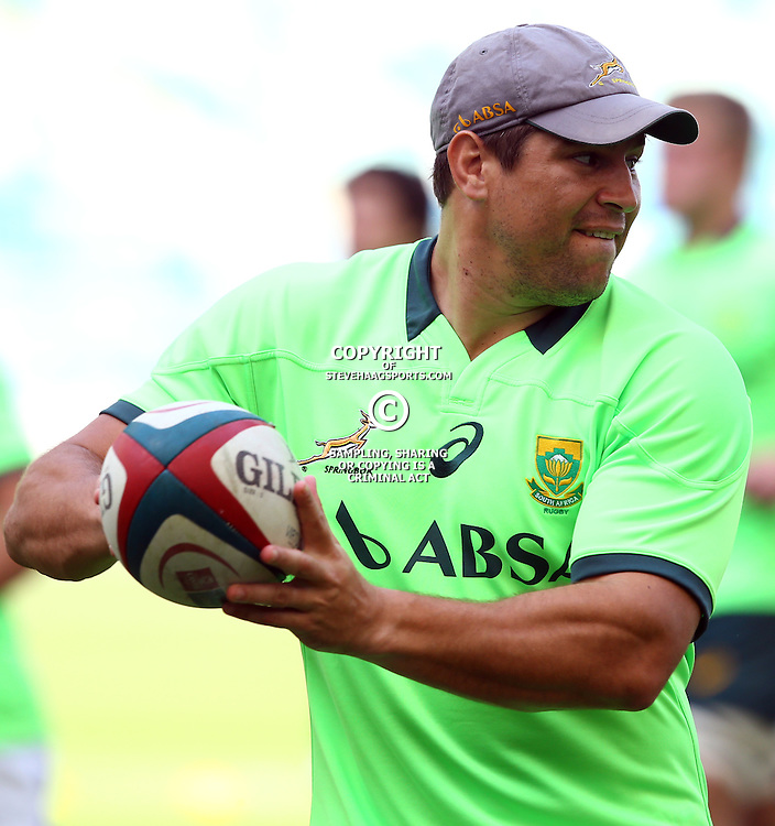 DURBAN, SOUTH AFRICA - AUGUST 21: Willem Alberts  during the South African national rugby team training session at Moses Mabhida Stadium on August 21, 2015 in Durban, South Africa. (Photo by Steve Haag/Gallo Images)