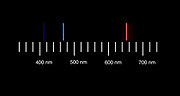 The atomic emission spectra of Hydrogen gas. <br />