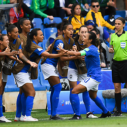 Marta of Brazil celebrates his scoring with team-mates during the Women's World Cup match between Australia and Brazil at Stade de la Mosson on June 13, 2019 in Montpellier, France. (Photo by Alexandre Dimou/Icon Sport)