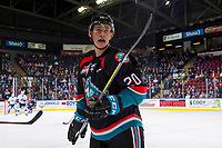 KELOWNA, CANADA - OCTOBER 5:  Conner Bruggen-Cate #20 of the Kelowna Rockets looks for the pass against the Victoria Royals on October 5, 2018 at Prospera Place in Kelowna, British Columbia, Canada.  (Photo by Marissa Baecker/Shoot the Breeze)  *** Local Caption ***