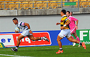 Vince Aso scores a try during the Taranaki vs Auckland ITM cup match played at Yarrow Stadium New Plymouth New Zealand. Saturday the 7th of September 2013. <br /> Photo John Velvin/Photosport