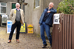 Willie Rennie, Keltybridge, 5-5-2016<br /> <br /> Willie Rennie at the poling station in Keltybridge Fife with Peter Barrett, Perthshire North<br /> <br /> (c) David Wardle | Edinburgh Elite media