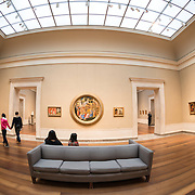 One of many rooms displaying paintings at the National Gallery of Art in Washington DC on the National Mall.