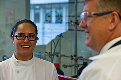 Kieth Brown chats to Martina Quintanar, team leader in Chemistry, from Mexico