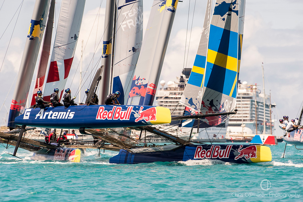 Great Sound, Bermuda. 15th June 2017. Red Bull Youth America's Cup. Start of race 2 of Qualifier 2 (Group A). Artemis Youth Racing.