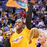 03 August 2014: Los Angeles Sparks forward/center Sandrine Gruda (7) thanks the fans after the Los Angeles Sparks 70-69 victory over the Connecticut Sun, at the Staples Center, Los Angeles, California, USA.