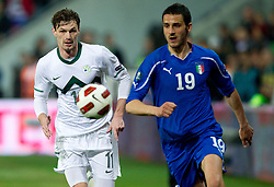 Milivoje Novakovic of Slovenia vs Leonardo Bonucci of Italy during EURO 2012 Quaifications game between National teams of Slovenia and Italy, on March 25, 2011, SRC Stozice, Ljubljana, Slovenia. (Photo by Vid Ponikvar / Sportida)