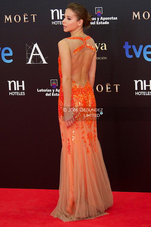 Irene Escolar arrives to Goya Cinema Awards 2013 ceremony, at Auditorium Hotel on February 17, 2013 in Madrid, Spain