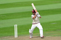 Somerset's James Hildreth cuts the ball - Photo mandatory by-line: Harry Trump/JMP - Mobile: 07966 386802 - 21/08/15 - SPORT - CRICKET - LV County Championship Division One - Day One - Somerset v Worcestershire - The County Ground, Taunton, England.