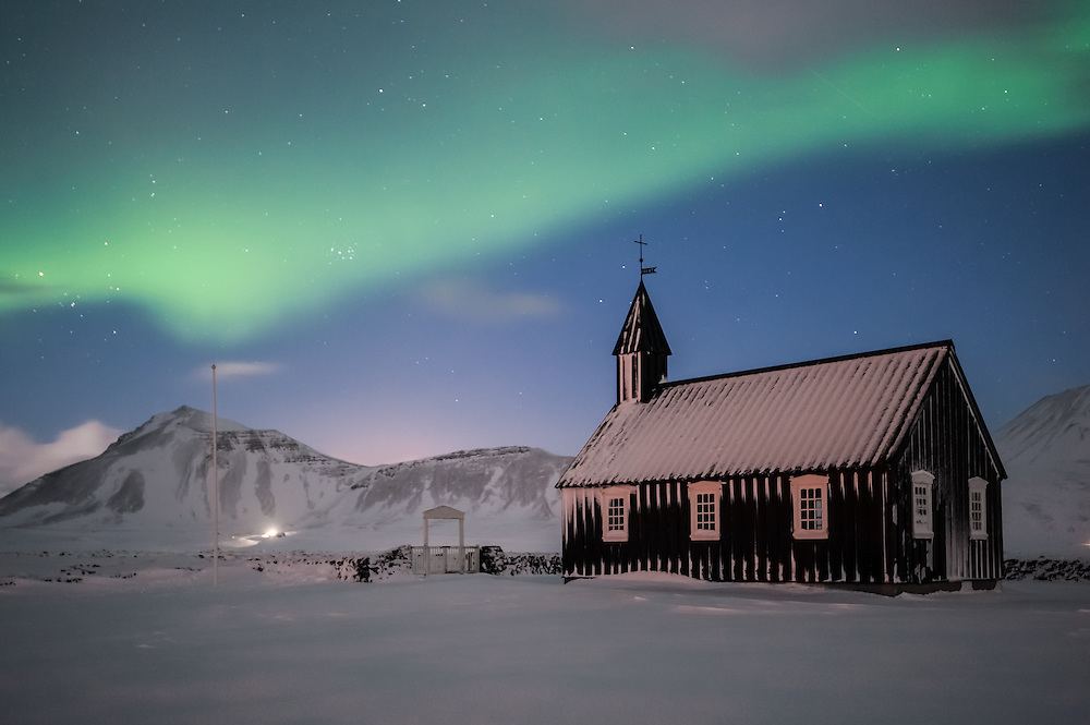 Church at Bu∂ir, under the northern light, Iceland