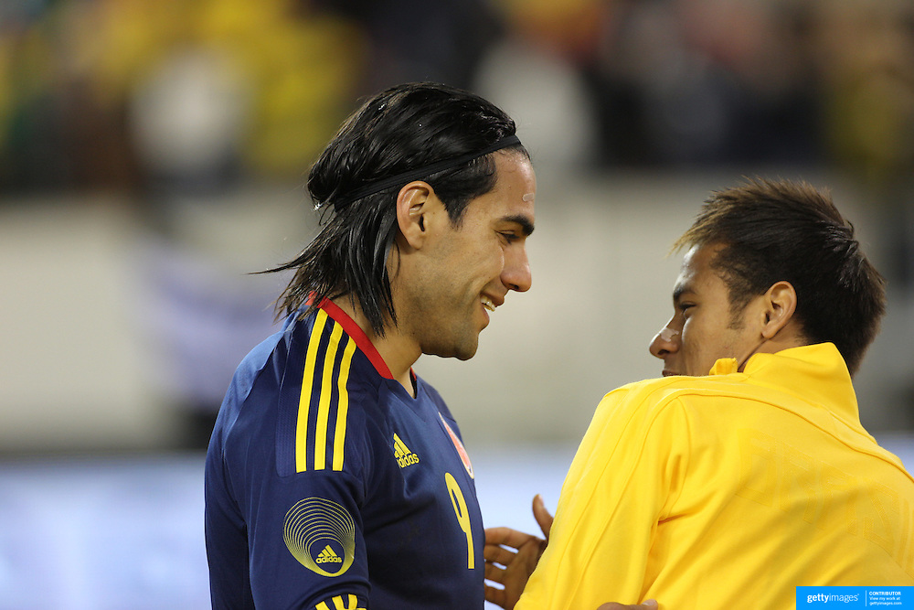 Radamel Falcao, Colombia, (left) and Neymar, Brazil, before the Brazil V Colombia International friendly football match at MetLife Stadium, New Jersey. USA. 14th November 2012. Photo Tim Clayton