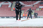 Sheffield United ground staff clear the lines ready for play during the EFL Sky Bet Championship match between Sheffield United and Nottingham Forest at Bramall Lane, Sheffield, England on 17 March 2018. Picture by Mick Haynes.