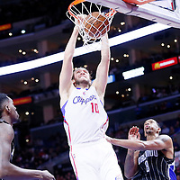 03 December 2014: Los Angeles Clippers forward Spencer Hawes (10) dunks the ball during the Los Angeles Clippers 114-86 victory over the Orlando Magic, at the Staples Center, Los Angeles, California, USA.