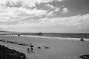 Black and white photo beach path wall art. Southern California lifestyle photography. Manhattan Beach Pier, Southbay, CA. Matted print, limited edition. Fine art photography print.