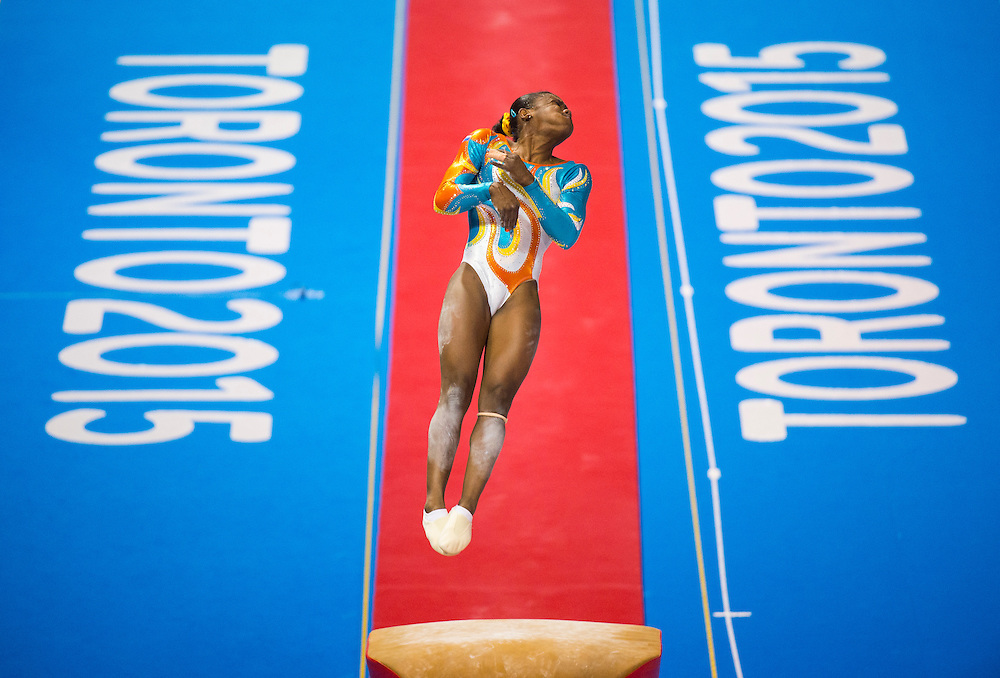 Yamilet Pena Abreu of the Dominican Republic on the vault during the individual, artistic gymnastics competition at the 2015 PanAm Games in Toronto.