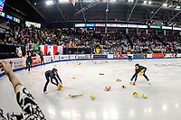 KELOWNA, BC - OCTOBER 25:  Kelowna figure skating club members clear the ice of Winnie the Pooh bears as Japanese figure skater Yuzuru Hanyu takes a bow after the mens short program at Skate Canada International held at Prospera Place on October 25, 2019 in Kelowna, Canada. (Photo by Marissa Baecker/Shoot the Breeze)