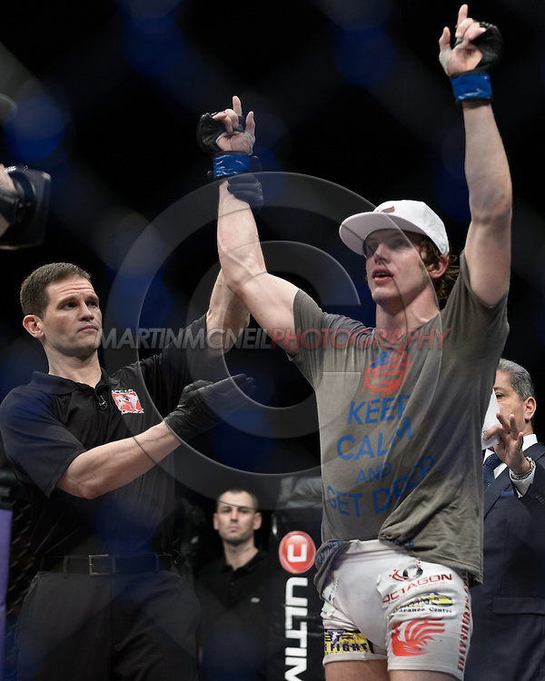 "LONDON, ENGLAND, FEBRUARY 16, 2013: Matthew Riddle is declared winner of his fight at ""UFC on Fuel TV 7: Barao vs. McDonald"" inside Wembley Arena in Wembley, London on Saturday, February 16, 2013 (© Martin McNeil)"