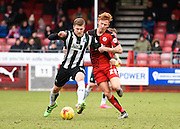 Plymouth forward Ryan Brunt and Crawley Town Defender Josh Yorwerth in action during the Sky Bet League 2 match between Crawley Town and Plymouth Argyle at the Checkatrade.com Stadium, Crawley, England on 20 February 2016. Photo by David Charbit.