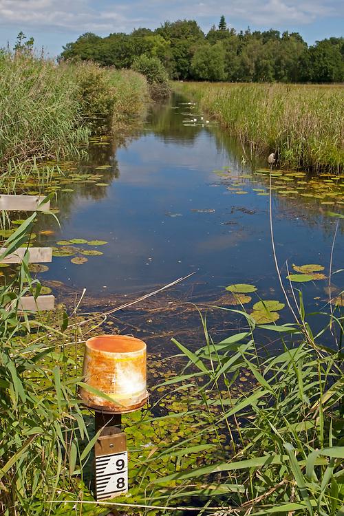 Dyke showing water level, Sutton Fen RSPB Reserve, Norfolk UK