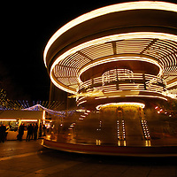 A carousel spins at the Avignon Christmas market