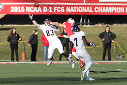 05 December 2015:  Alejandro Rivera(32) works to disrupt a catch by Adam Conrady(83). NCAA FCS Round 2 Football Playoff game between Western Illinois Leathernecks and Illinois State Redbirds at Hancock Stadium in Normal IL (Photo by Alan Look)