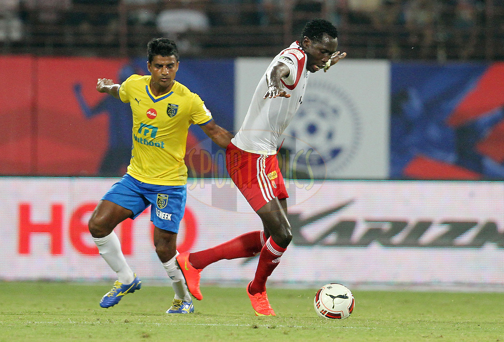 Kondwani Mtonga of NorthEast United FC in action during match 49 of the Hero Indian Super League between Kerala Blasters FC and North East United FC held at the Jawaharlal Nehru Stadium, Kochi, India on the 4th December 2014.<br /> <br /> Photo by:  Vipin Pawar/ ISL/ SPORTZPICS