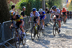 The lead chase group including Belgian National Champion Yves Lampaert (BEL) Deceuninck-Quick Step, Matteo Trentin (ITA) Mitchelton-Scott and Peter Sagan (SVK) Bora-Hansgrohe climb Taaienberg during the 2019 E3 Harelbeke Binck Bank Classic 2019 running 203.9km from Harelbeke to Harelbeke, Belgium. 29th March 2019.<br /> Picture: Eoin Clarke | Cyclefile<br /> <br /> All photos usage must carry mandatory copyright credit (© Cyclefile | Eoin Clarke)