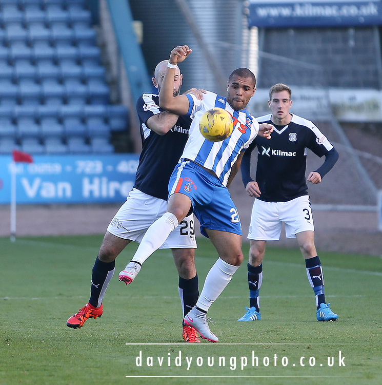 Kilmarnock&rsquo;s Josh Magennis and Dundee&rsquo;s Gary Harkins  - Dundee v Kilmarnock, Ladbrokes Premiership at Dens Park <br /> <br />  - &copy; David Young - www.davidyoungphoto.co.uk - email: davidyoungphoto@gmail.com