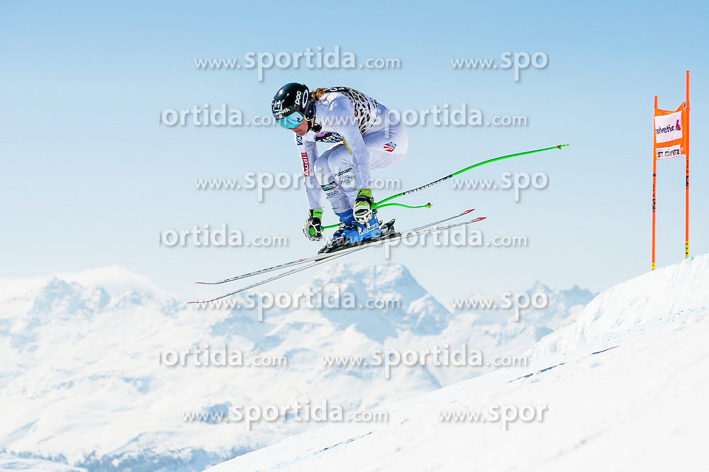 14.03.2016, Engiadina, St. Moritz, SUI, FIS Weltcup Ski Alpin, St. Moritz, Abfahrt, Damen, 1. Training, im Bild Stacey Cook (USA) // competes in her 1st training run for the ladie's Downhill of st. Moritz Ski Alpine World Cup finals at the Engiadina in St. Moritz, Switzerland on 2016/03/14. EXPA Pictures &copy; 2016, PhotoCredit: EXPA/ Freshfocus/ Manuel Lopez<br /> <br /> *****ATTENTION - for AUT, SLO, CRO, SRB, BIH, MAZ only*****